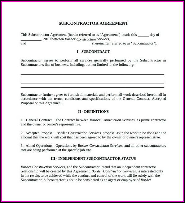 Construction Subcontractor Agreement Word Template