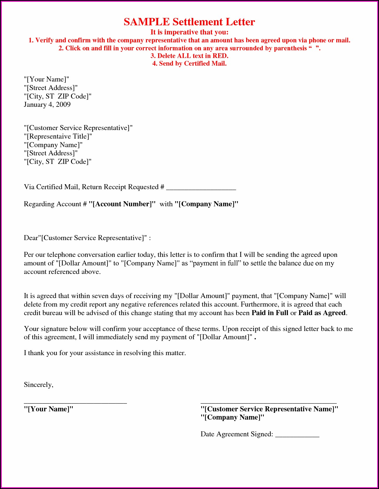 Debt Settlement Agreement Letter Template