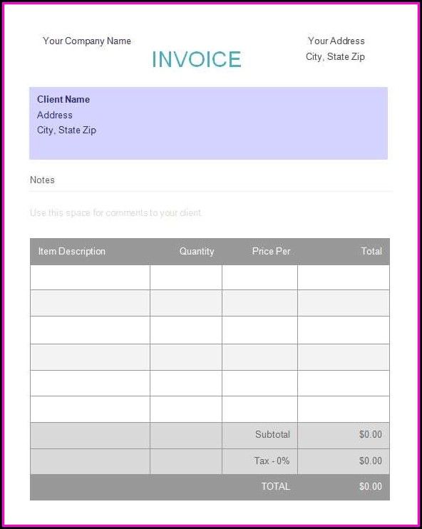 Deposit Invoice Template Word