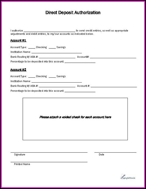 Direct Deposit Authorization Form Template Canada