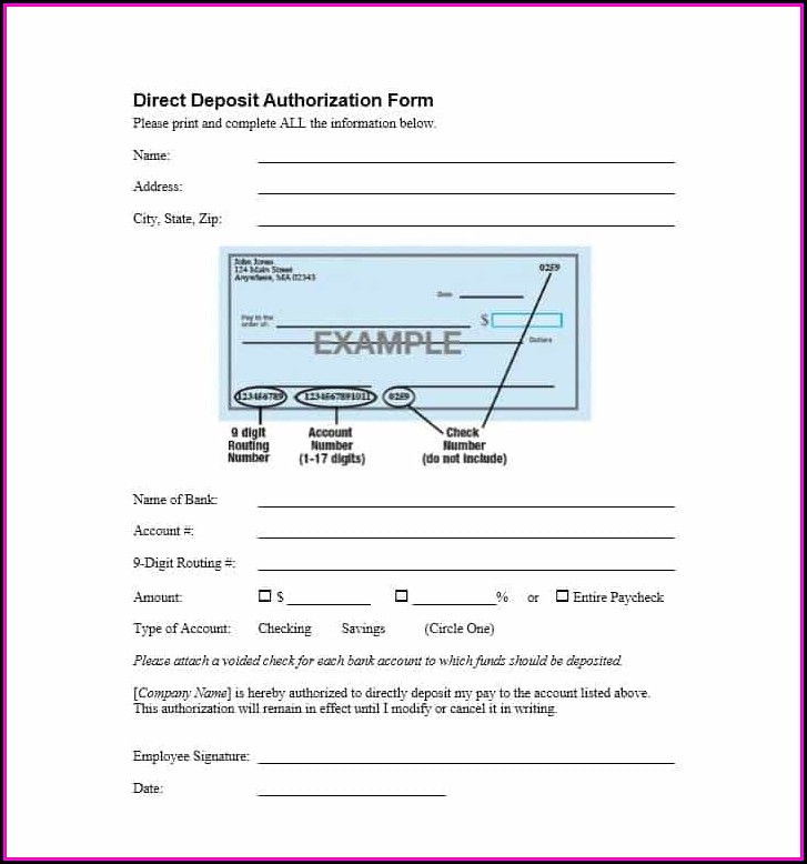 Direct Deposit Authorization Form Template