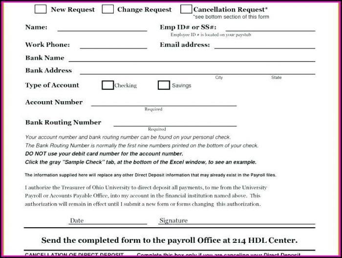 Direct Deposit Invoice Template