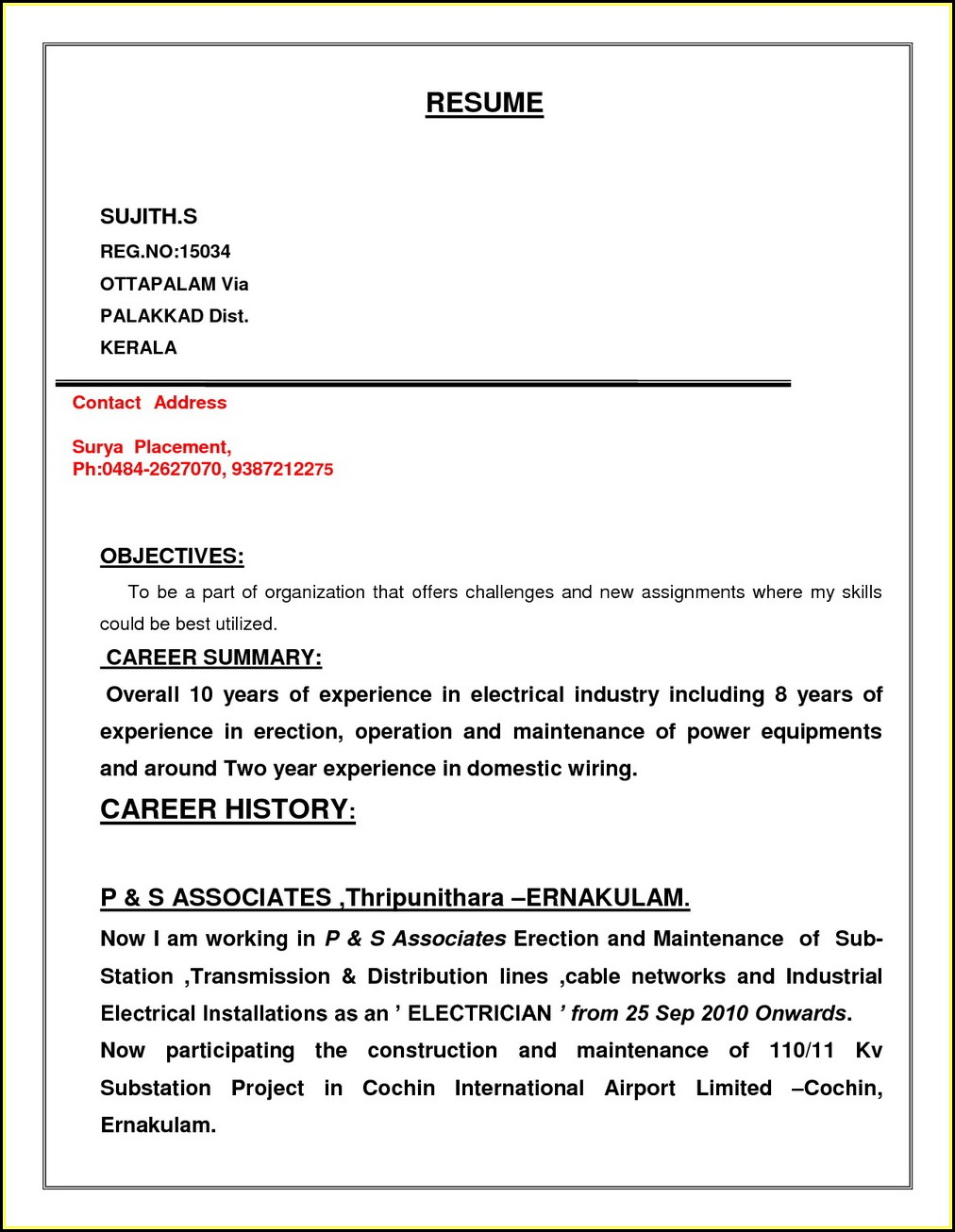 Electrician Resume Format Free Download