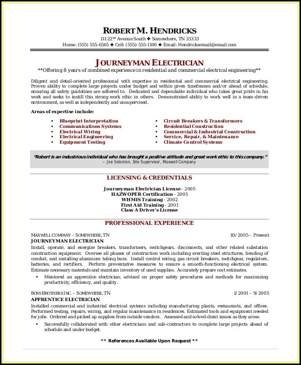 Electrician Resume Template Microsoft Word