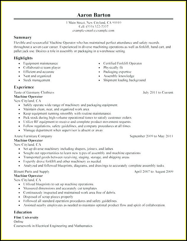 Electronics Assembly Technician Resume Sample