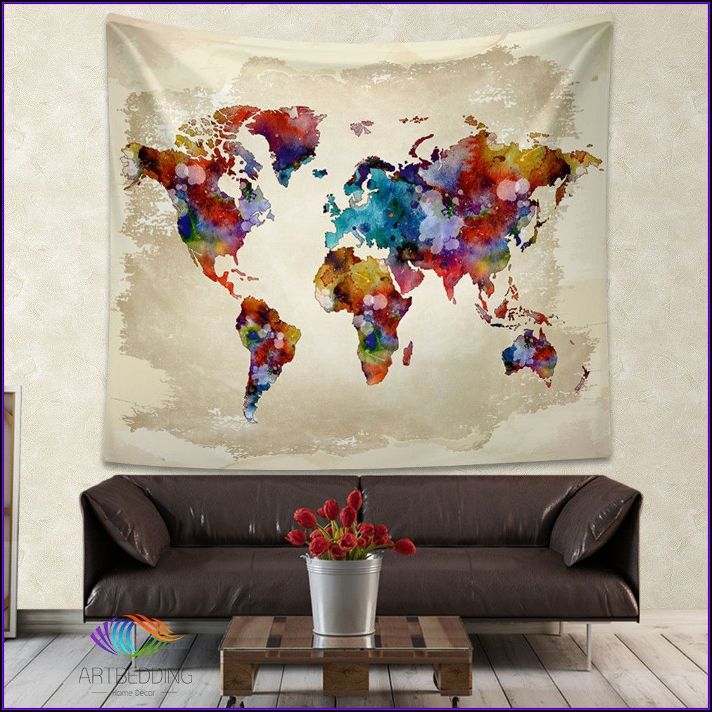 Fabric World Map Wall Hanging
