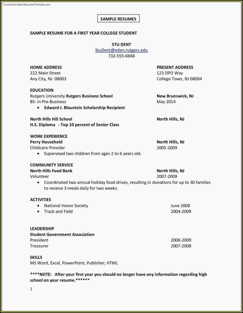First Job Resume Template Free