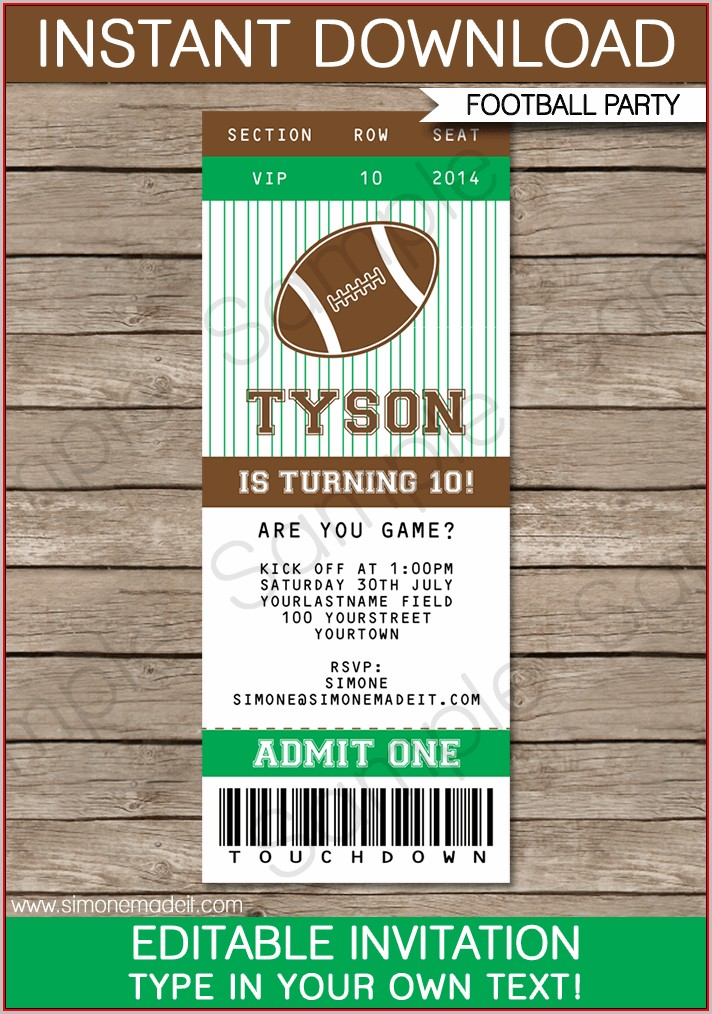 Football Ticket Invitation Template Free
