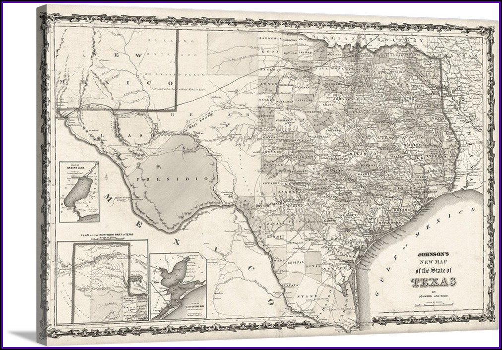 Framed Wall Map Of Texas