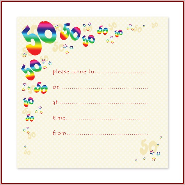 Free Blank 50th Birthday Invitation Templates