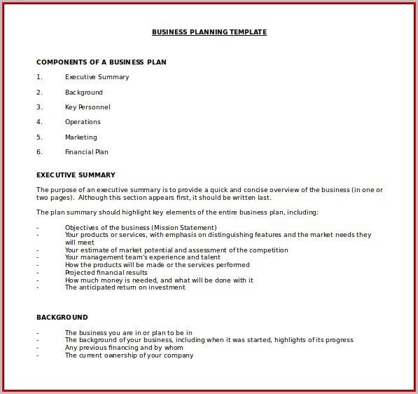 Free Business Plan Template Word Doc