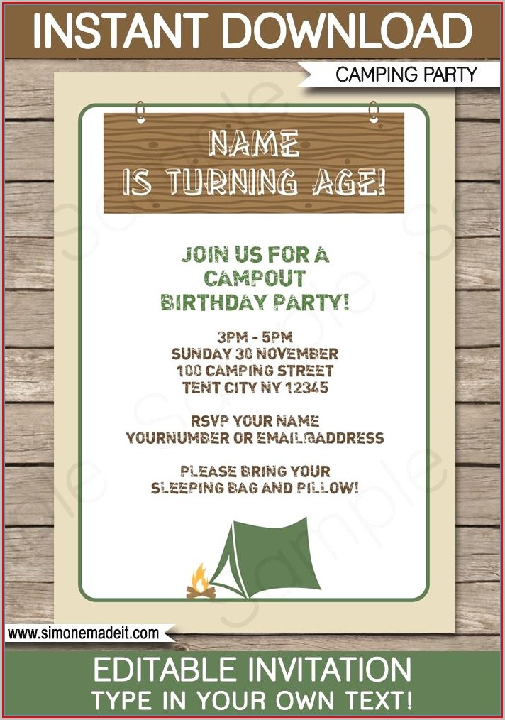 Free Camping Birthday Party Invitation Templates