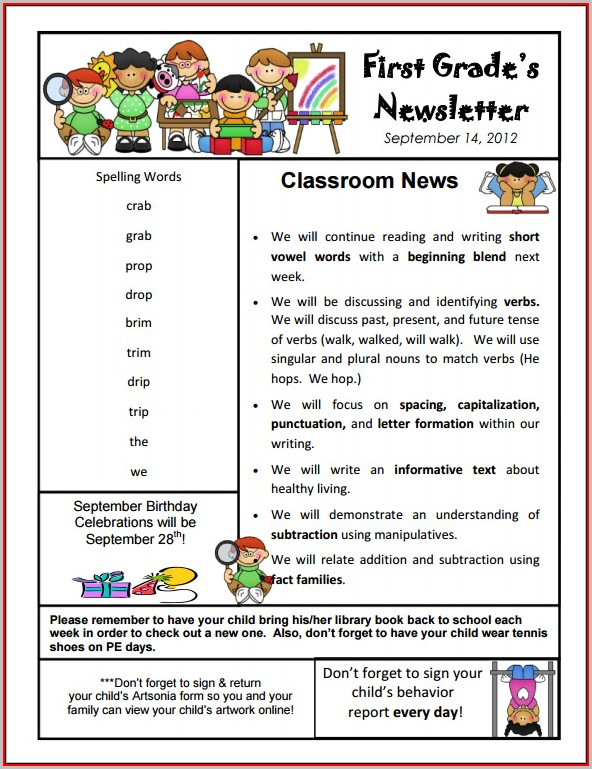 Free Class Newsletter Templates For Teachers