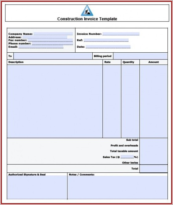 Free Construction Invoice Template Pdf
