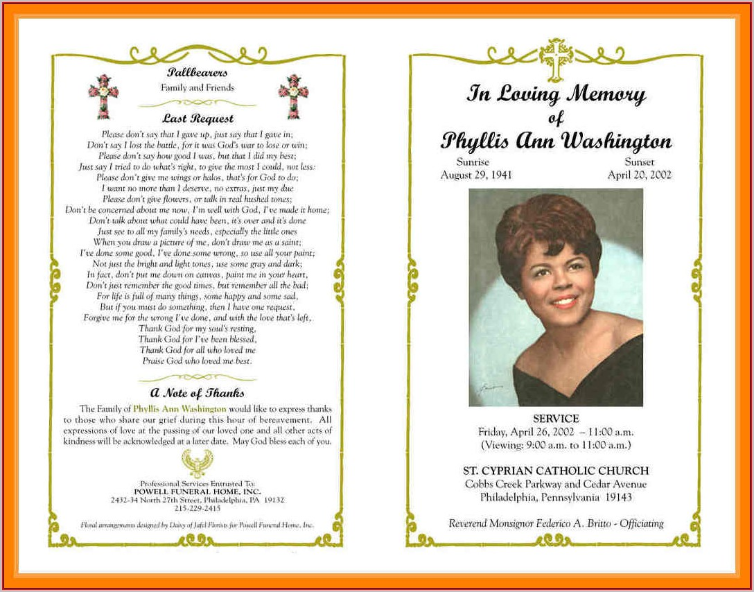 Free Funeral Program Template Word Download