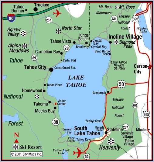 South Lake Tahoe Hotels Map