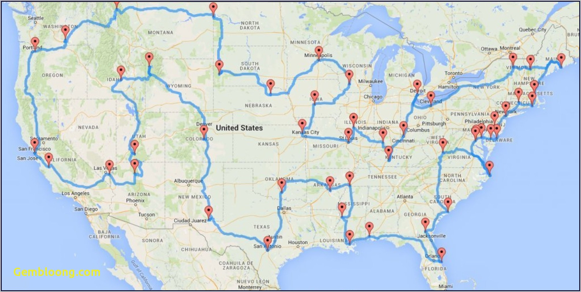 United States Road Trip Map