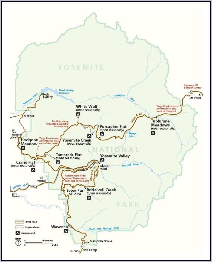 Us Map Yosemite National Park
