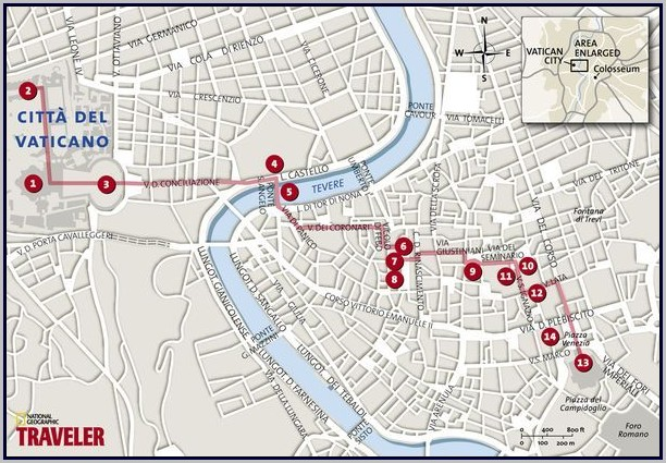 Walking Tour Map Of Rome Italy