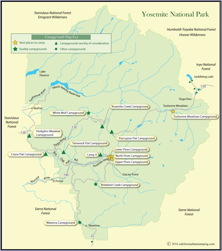 Yosemite National Park Campground Map