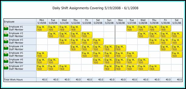 10 Hour Shift Templates