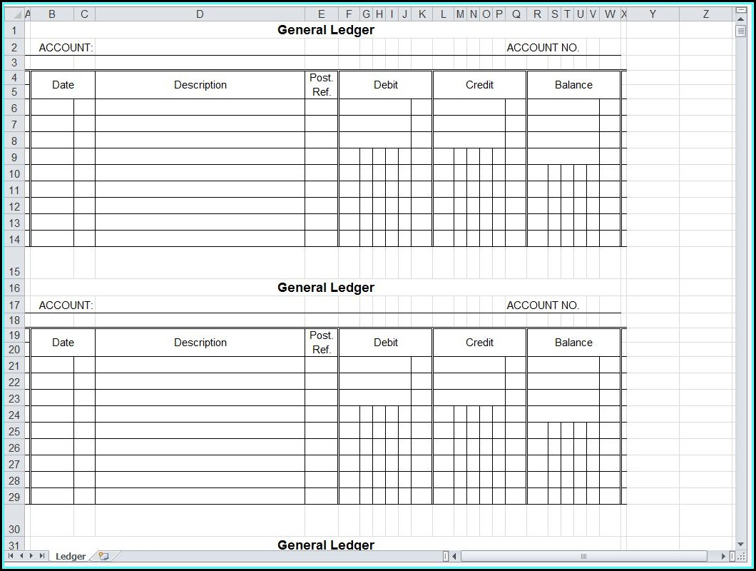 Accounting Ledger Template Example