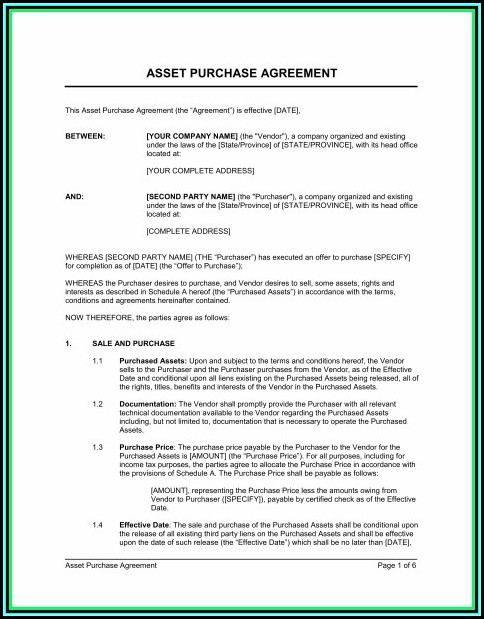 Asset Purchase Agreement Template Canada