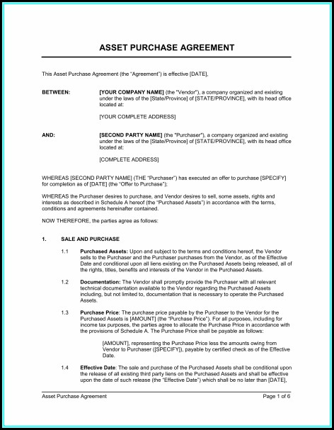 Asset Purchase Agreement Template Uk