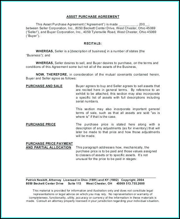 Asset Purchase Contract Template