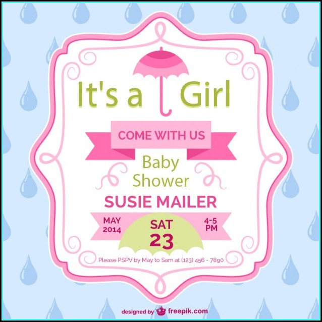 Baby Girl Shower Card Template