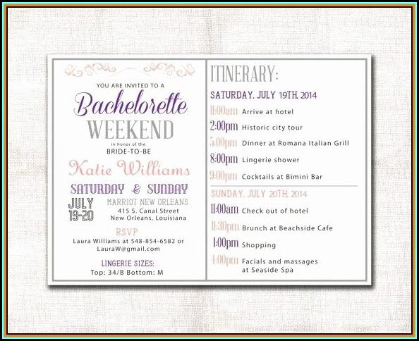 Bachelorette Party Itinerary Template Free