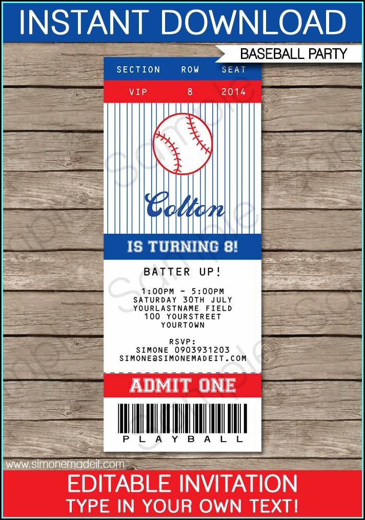 Baseball Ticket Template