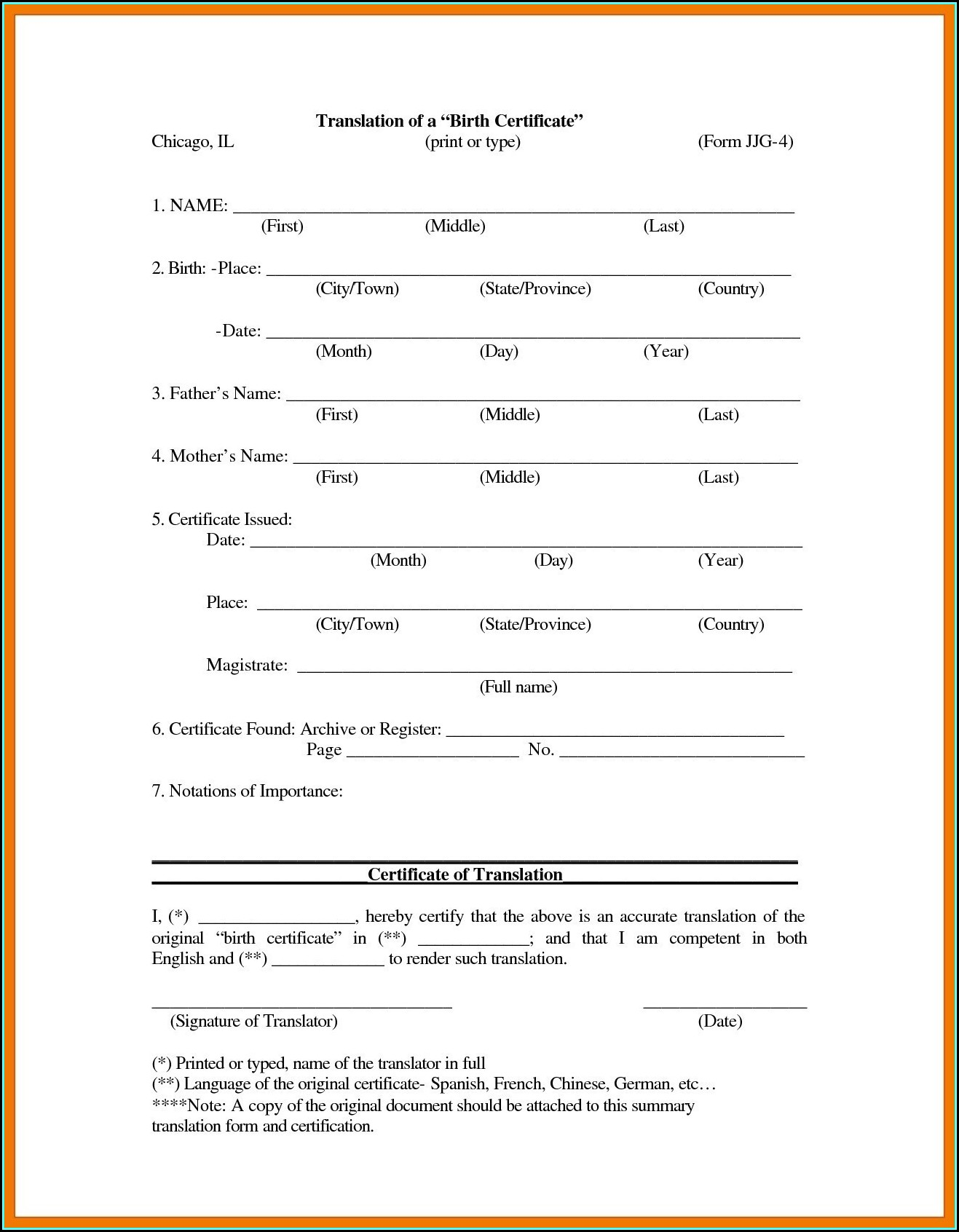 Birth Certificate Translation Template Uscis