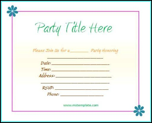 Birthday Party Invitation Template Word