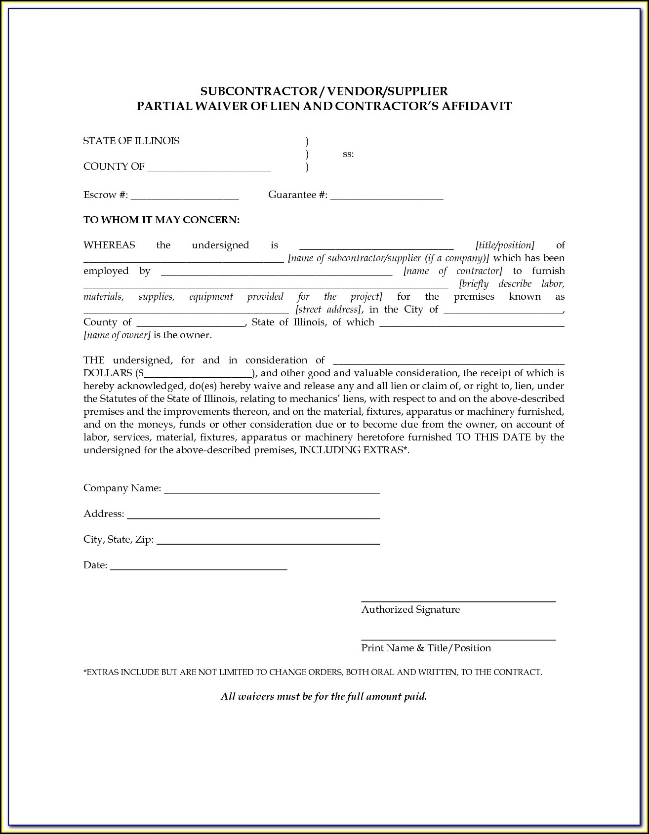 Conditional Lien Waiver Form Georgia