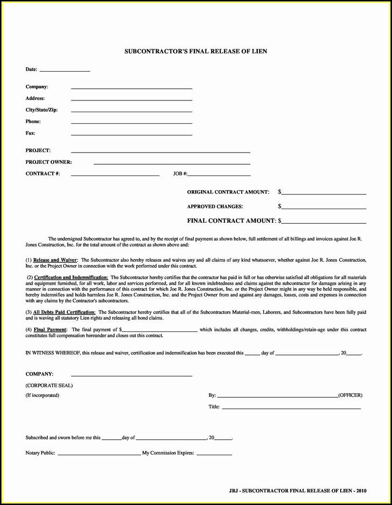 Conditional Lien Waiver Form Missouri