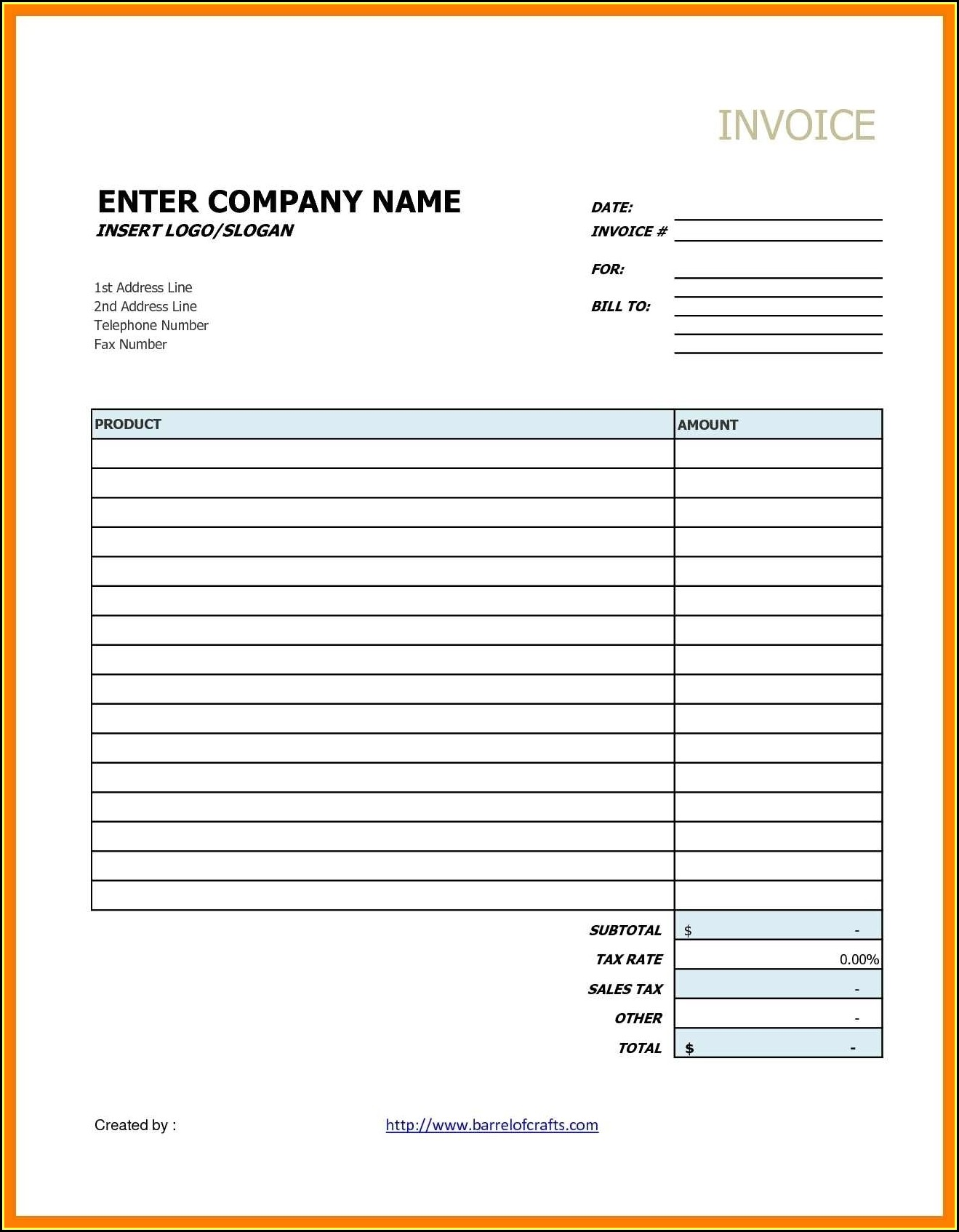 Contractor Invoice Template Google Docs