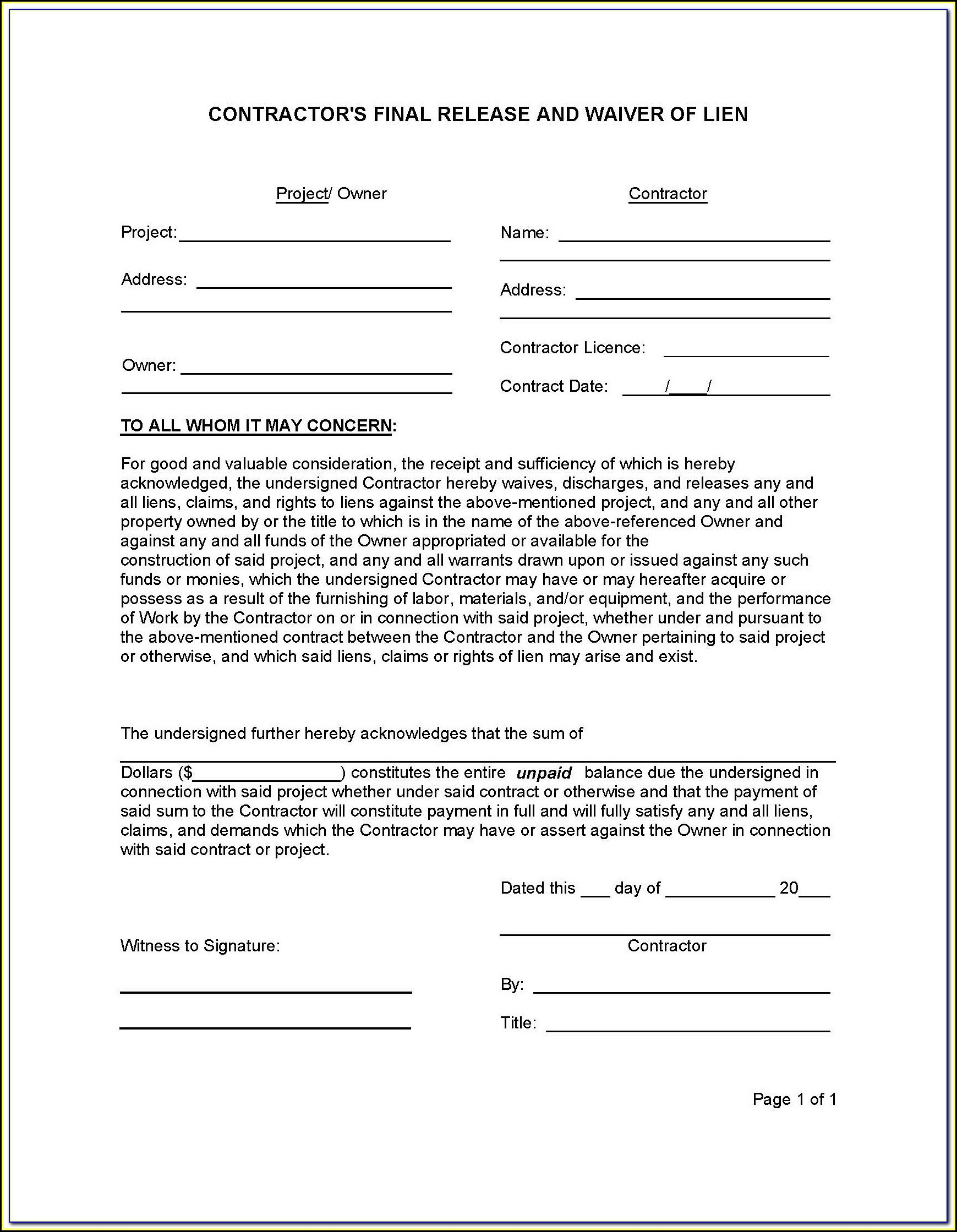 Contractor Lien Waiver Form Georgia