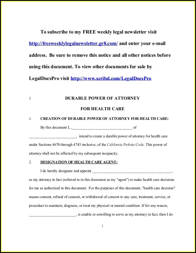 Durable Power Of Attorney Form California Health Care