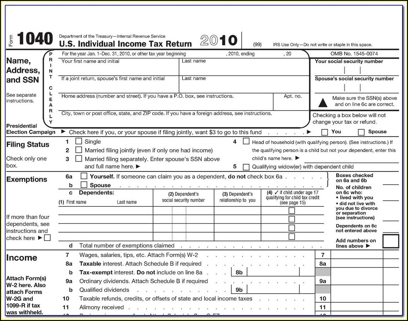 Federal Income Tax Forms 1040ez