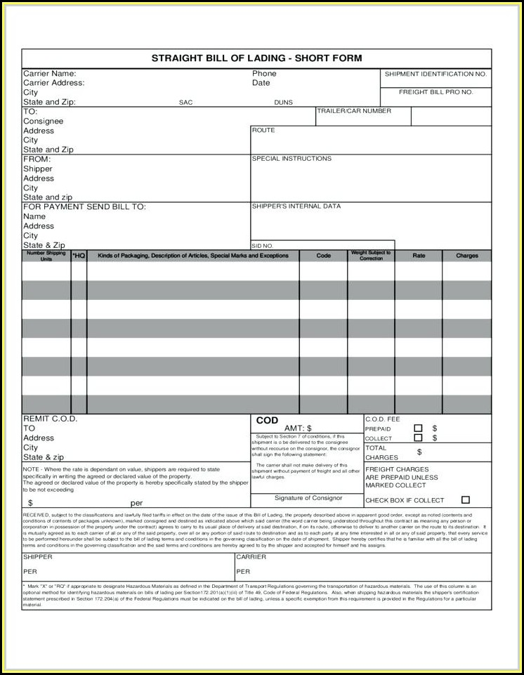 Fedex Bill Of Lading Forms