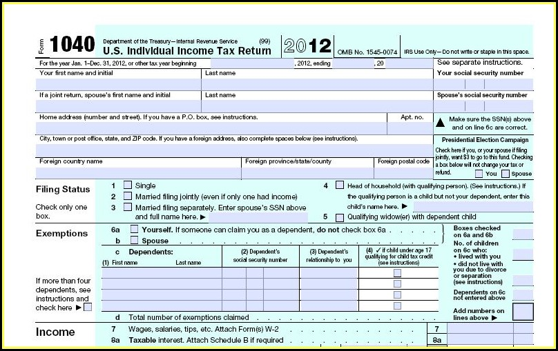 Fillable Irs Forms