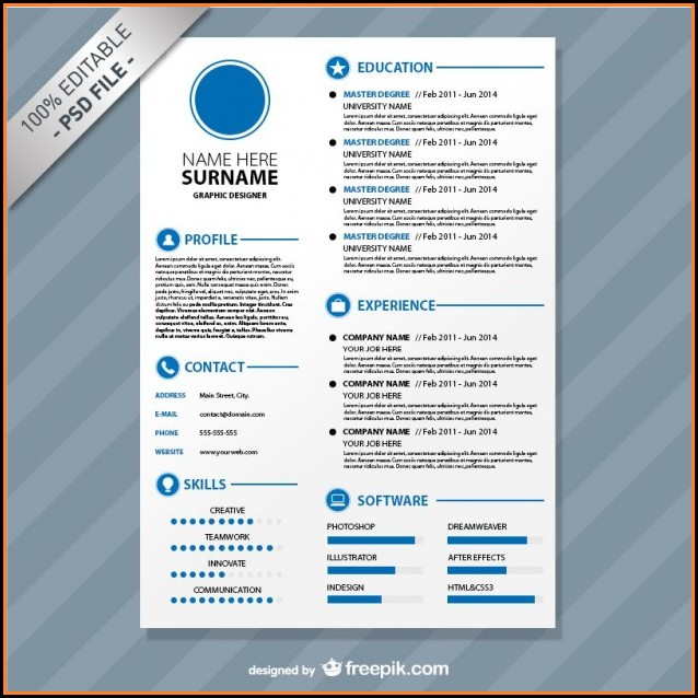 Editable Cv Format Download Free Psd
