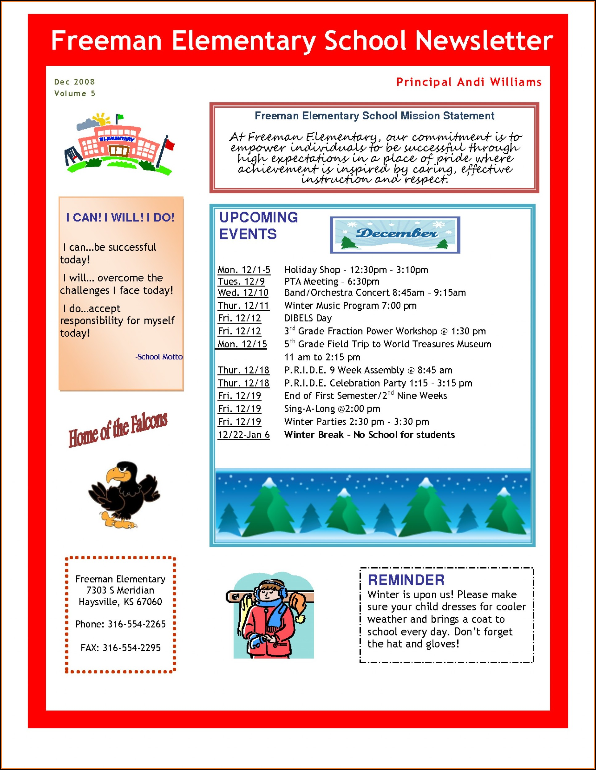 Elementary School Newsletter Template Free