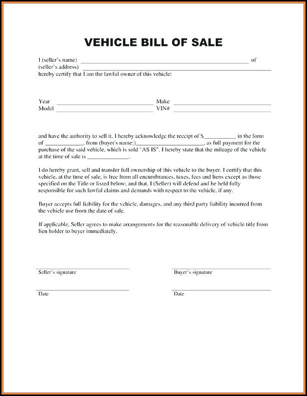 Free Auto Bill Of Sale Form Template