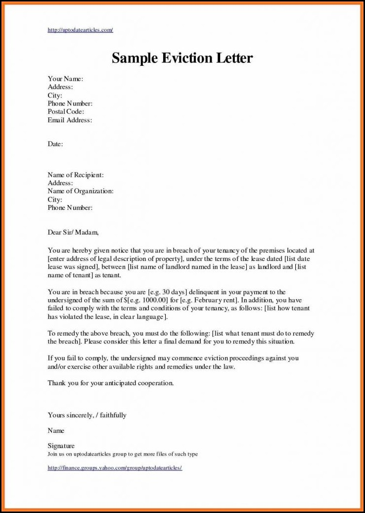 Free Eviction Letter Template Uk
