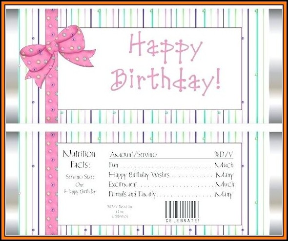 Free Happy Birthday Candy Bar Wrapper Template