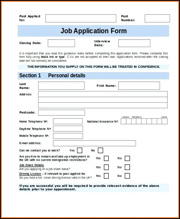 Free Job Application Form Template Word Uk