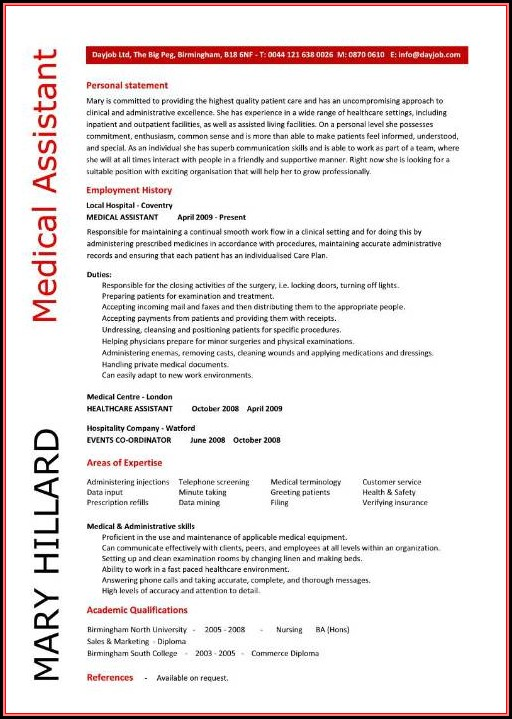Free Resume Template For Medical Assistant