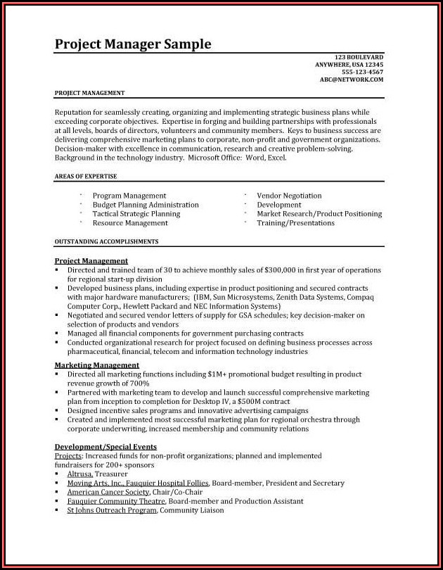 Free Resume Templates For Project Managers